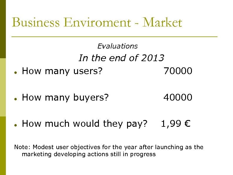 Business Enviroment - Market Evaluations In the end of 2013 How many users? 70000