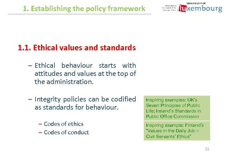 1. Establishing the policy framework 1. 1. Ethical values and standards – Ethical behaviour