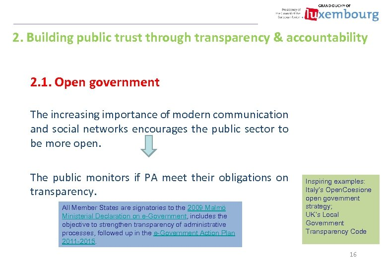 2. Building public trust through transparency & accountability 2. 1. Open government The increasing