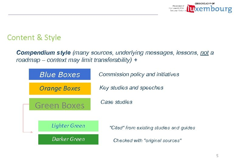 Content & Style Compendium style (many sources, underlying messages, lessons, not a roadmap –