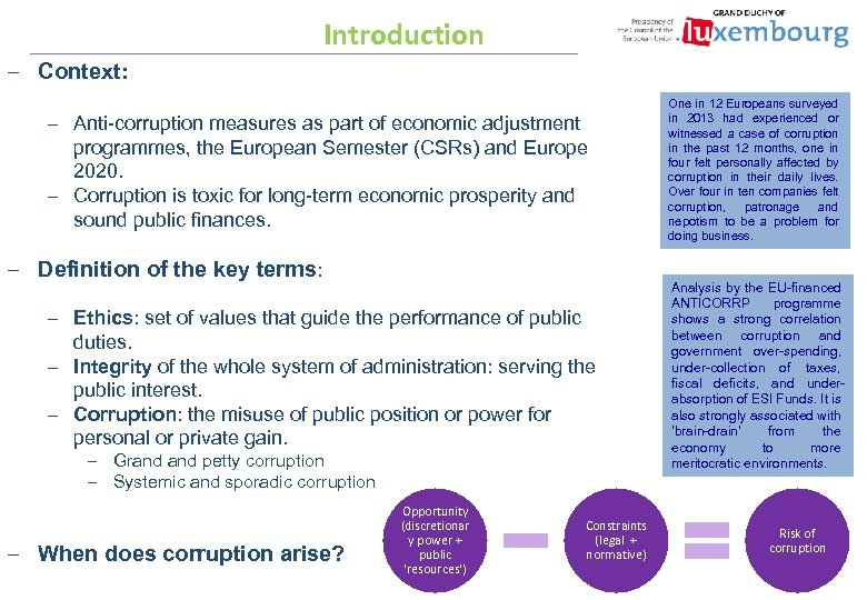 Introduction – Context: – Anti-corruption measures as part of economic adjustment programmes, the European