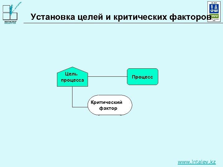 Установка целей и критических факторов Цель процесса Процесс Критический фактор www. intalev. kz