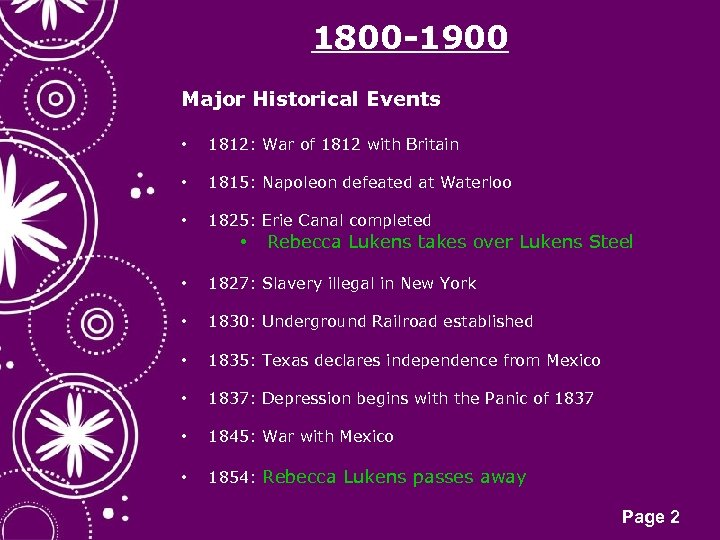 1800 -1900 Major Historical Events • 1812: War of 1812 with Britain • 1815: