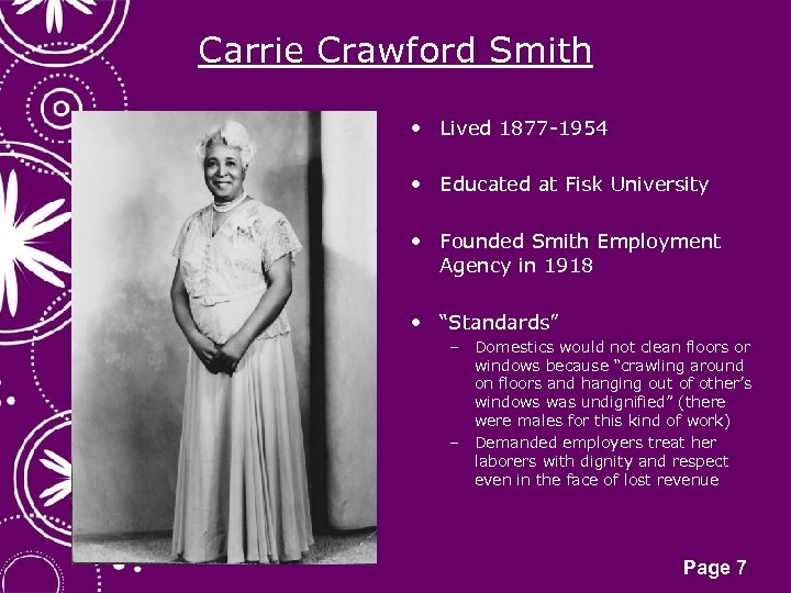 Carrie Crawford Smith • Lived 1877 -1954 • Educated at Fisk University • Founded
