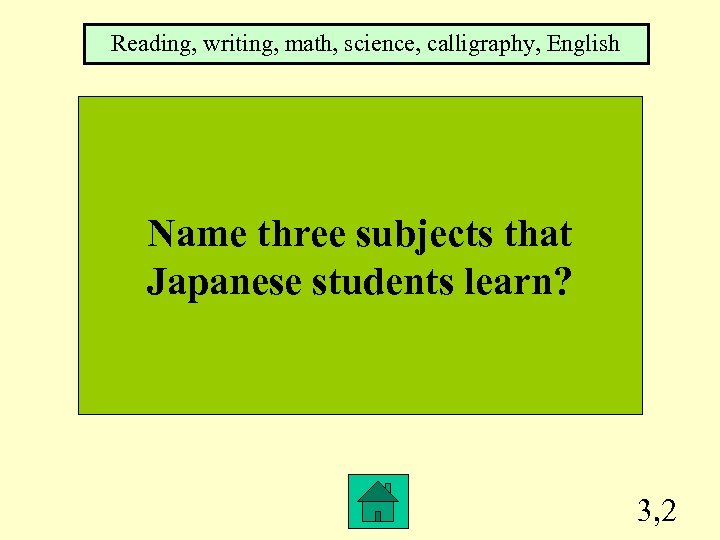 Reading, writing, math, science, calligraphy, English Name three subjects that Japanese students learn? 3,