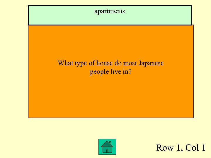 apartments What type of house do most Japanese people live in? Row 1, Col