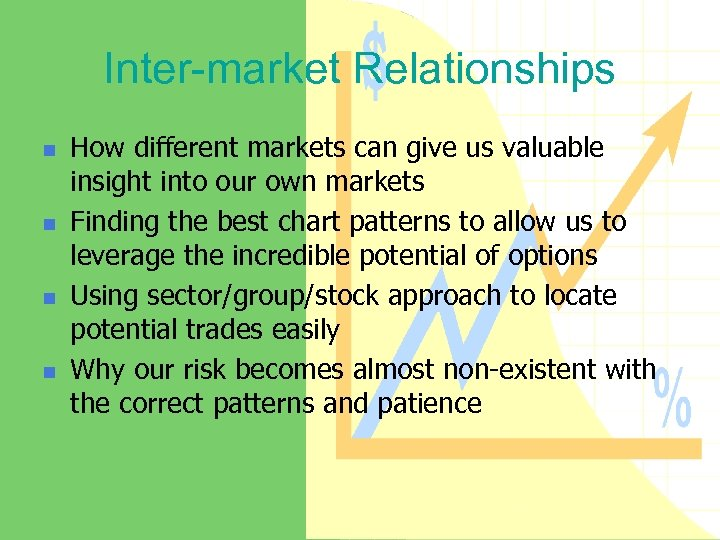 Inter-market Relationships n n How different markets can give us valuable insight into our