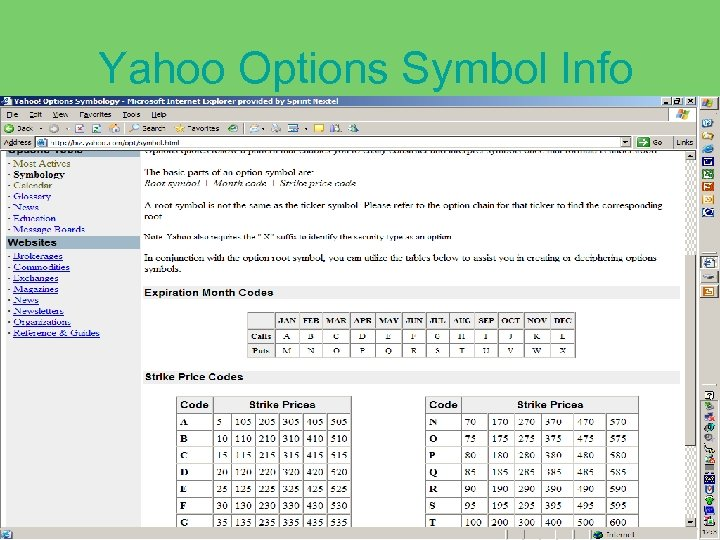 Yahoo Options Symbol Info