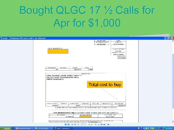 Bought QLGC 17 ½ Calls for Apr for $1, 000 Total cost to buy