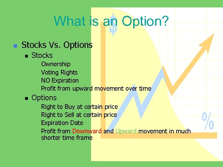 What is an Option? n Stocks Vs. Options n Stocks n n n Ownership