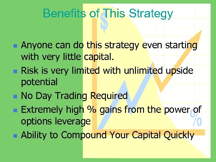 Benefits of This Strategy n n n Anyone can do this strategy even starting