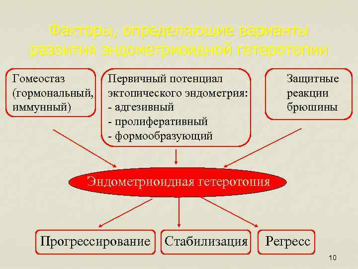 Факторы, определяющие варианты развития эндометриоидной гетеротопии Гомеостаз (гормональный, иммунный) Первичный потенциал эктопического эндометрия: -