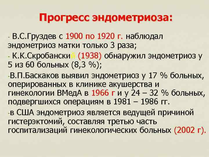 Прогресс эндометриоза: В. С. Груздев с 1900 по 1920 г. наблюдал эндометриоз матки только