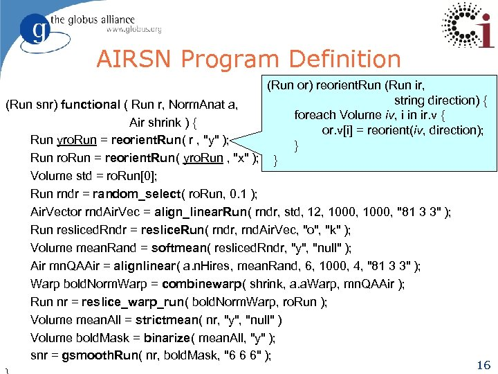 AIRSN Program Definition (Run or) reorient. Run (Run ir, string direction) { (Run snr)
