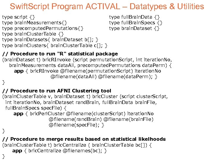 Swift. Script Program ACTIVAL – Datatypes & Utilities type type script {} type full.