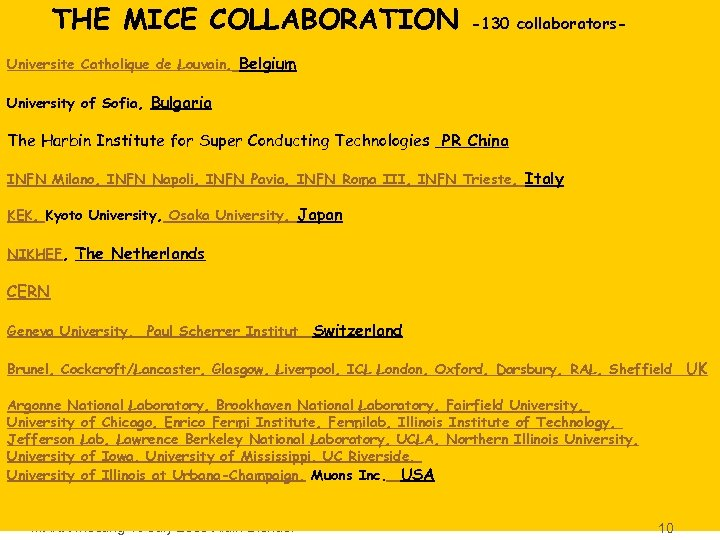 THE MICE COLLABORATION -130 collaborators- Universite Catholique de Louvain, Belgium University of Sofia, Bulgaria