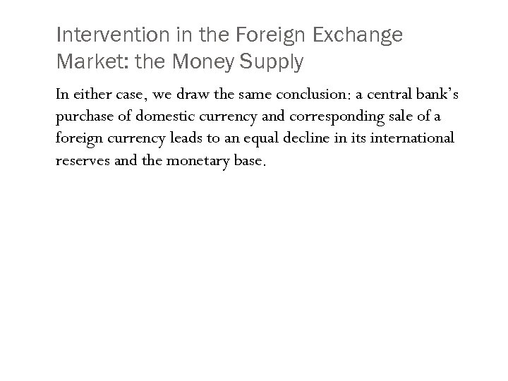 Intervention in the Foreign Exchange Market: the Money Supply In either case, we draw