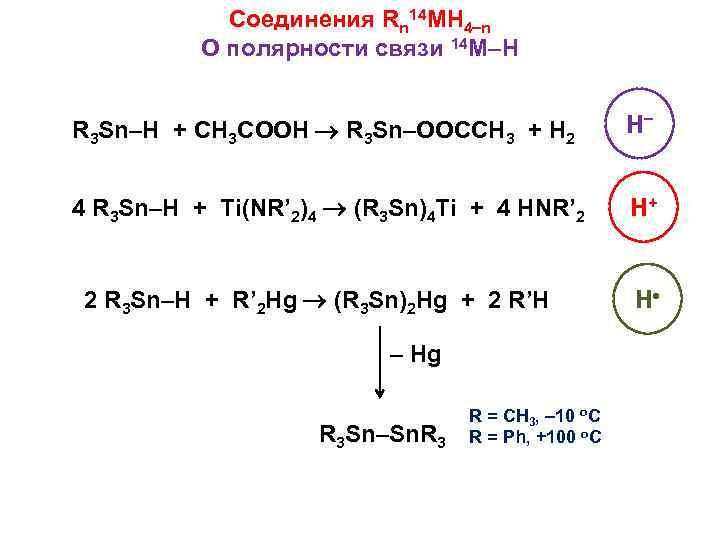 Соединения Rn 14 MH 4 n О полярности связи 14 M–H R 3 Sn–H