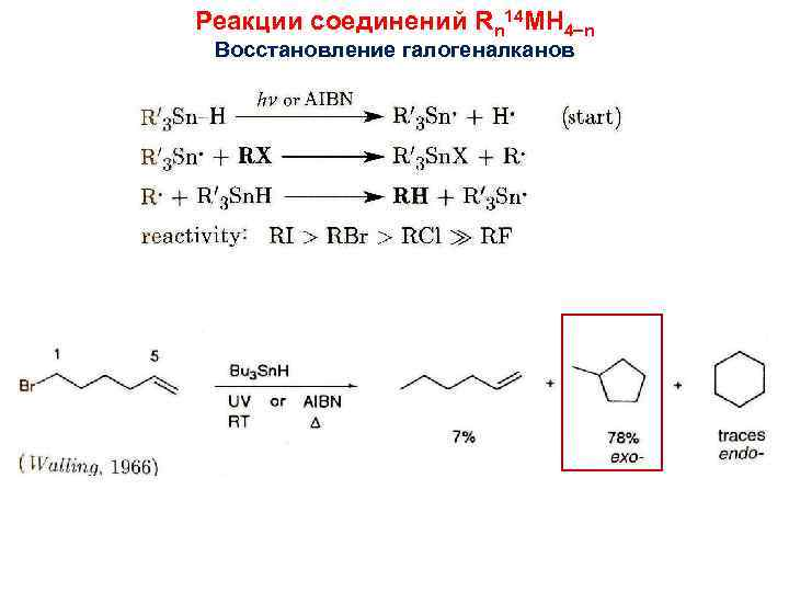 Реакции соединений Rn 14 MH 4 n Восстановление галогеналканов