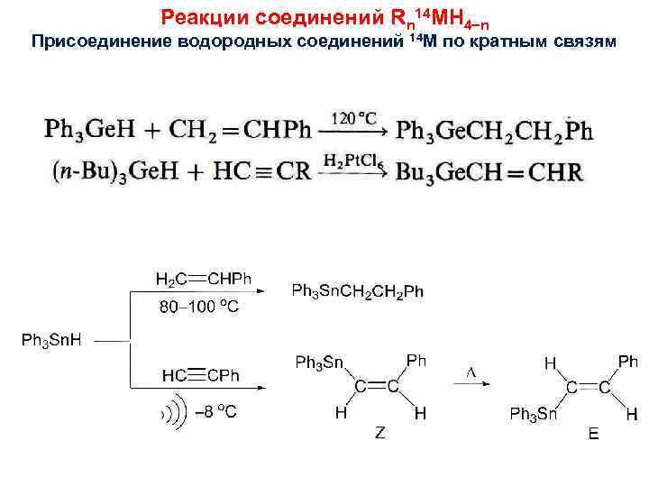 Реакции соединений Rn 14 MH 4 n Присоединение водородных соединений 14 M по кратным