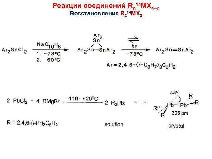 Реакции соединений Rn 14 MX 4 n Восстановление R 214 MX 2