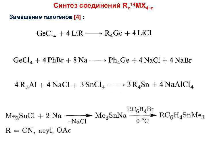 Синтез соединений Rn 14 MX 4 n Замещение галогенов [4] :