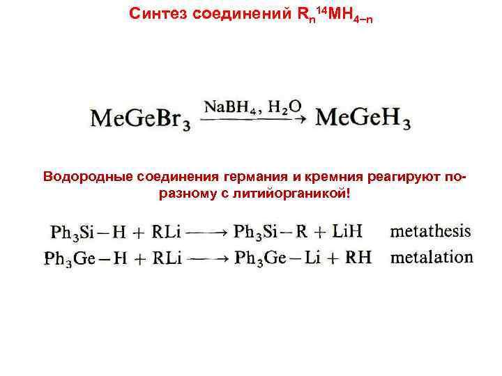Синтез соединений Rn 14 MH 4 n Водородные соединения германия и кремния реагируют поразному