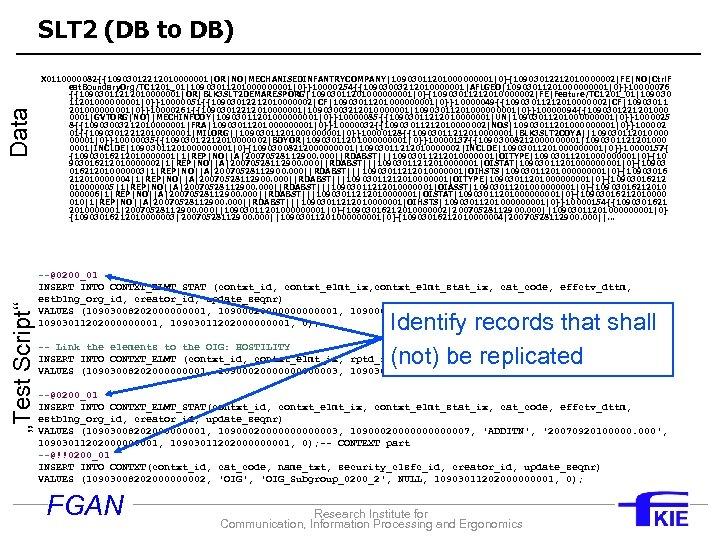 """Test Script"" Data SLT 2 (DB to DB) X 0110000082{{10903012212010000001 OR NO MECHANISEDINFANTRYCOMPANY 1090301120100001 0}{10903012212010000002 FE NO Ctrl. F eat. Boundary. Org/TC"