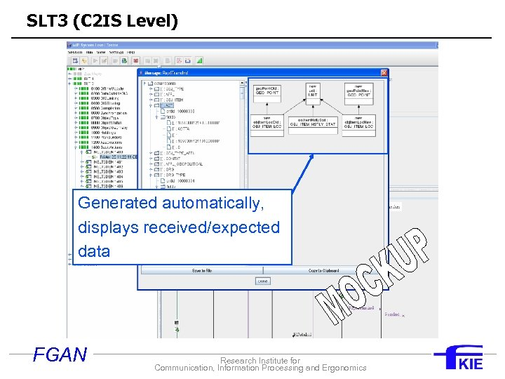 SLT 3 (C 2 IS Level) Generated automatically, displays received/expected data FGAN Research Institute