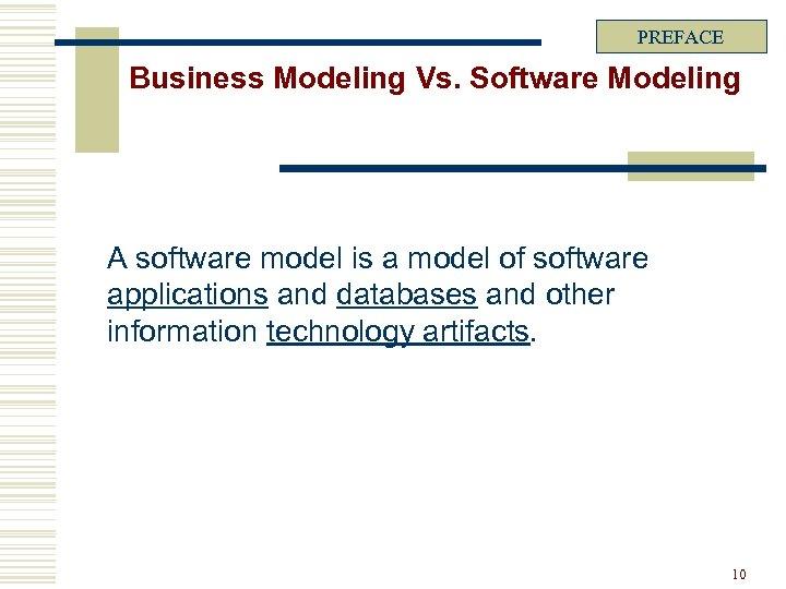 PREFACE Business Modeling Vs. Software Modeling A software model is a model of software