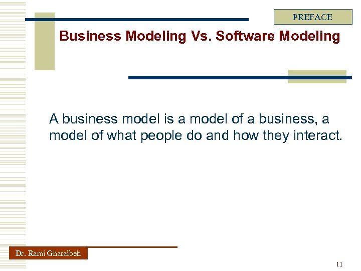 PREFACE Business Modeling Vs. Software Modeling A business model is a model of a