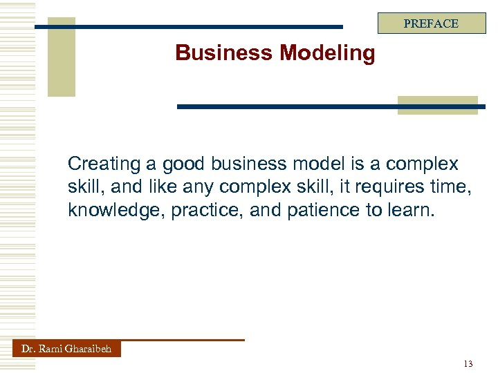 PREFACE Business Modeling Creating a good business model is a complex skill, and like