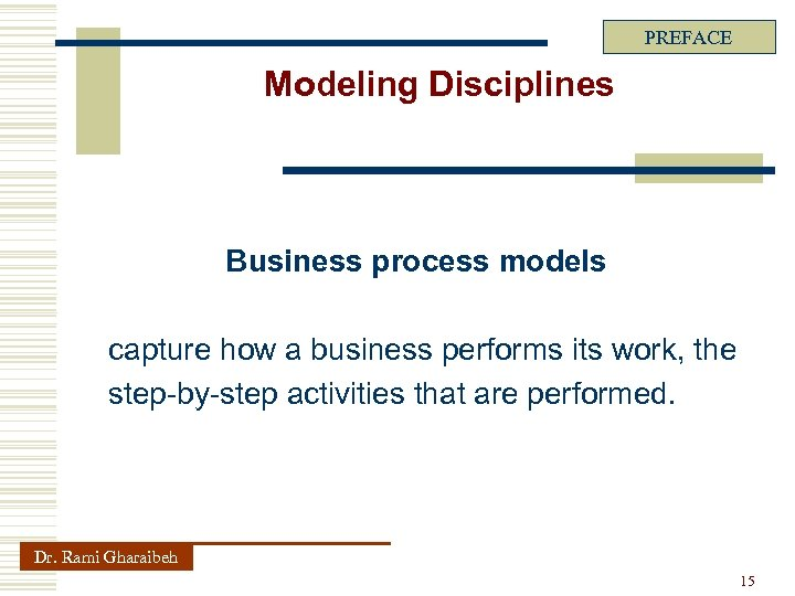 PREFACE Modeling Disciplines Business process models capture how a business performs its work, the