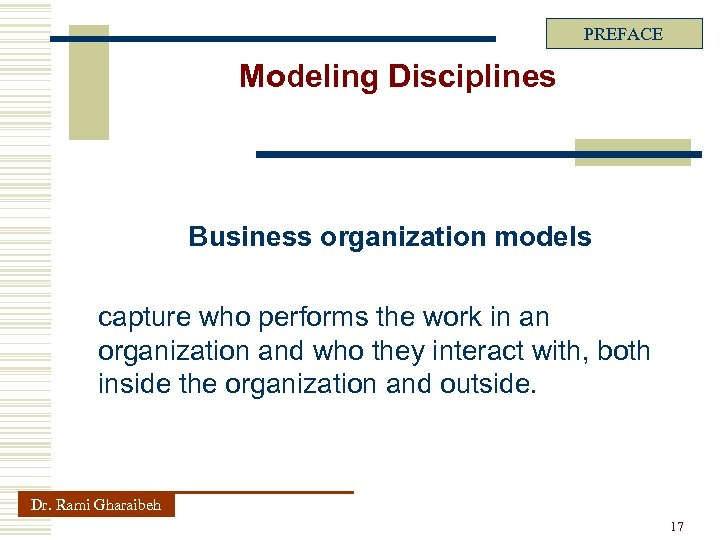 PREFACE Modeling Disciplines Business organization models capture who performs the work in an organization