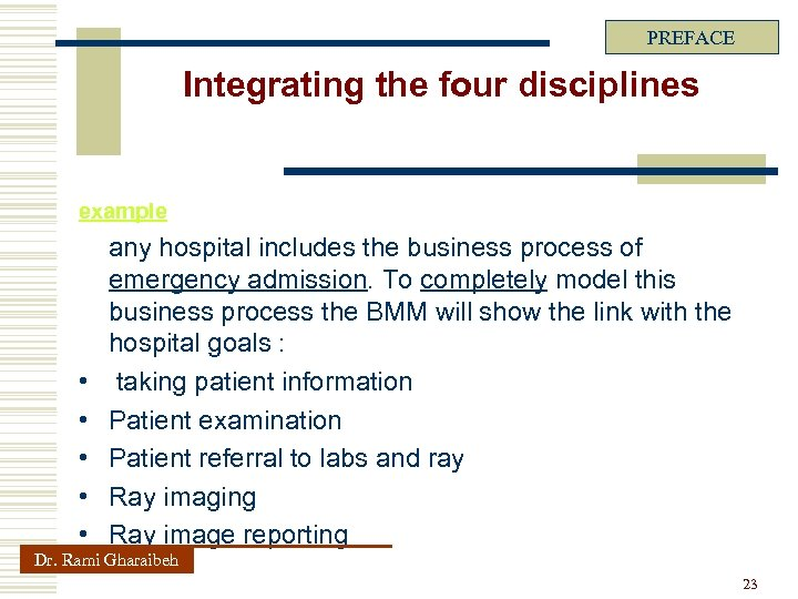 PREFACE Integrating the four disciplines example • • • any hospital includes the business