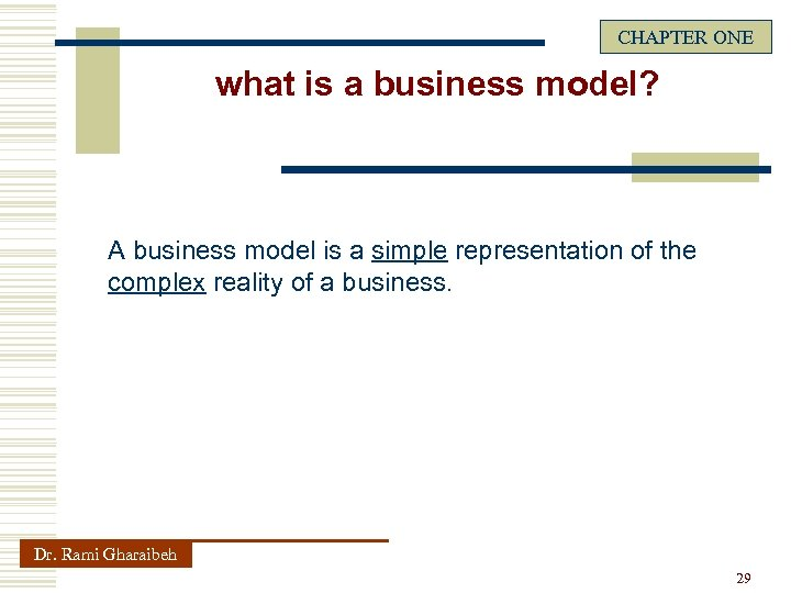 CHAPTER ONE what is a business model? A business model is a simple representation