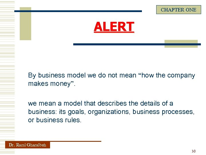 """CHAPTER ONE ALERT By business model we do not mean """"how the company makes"""