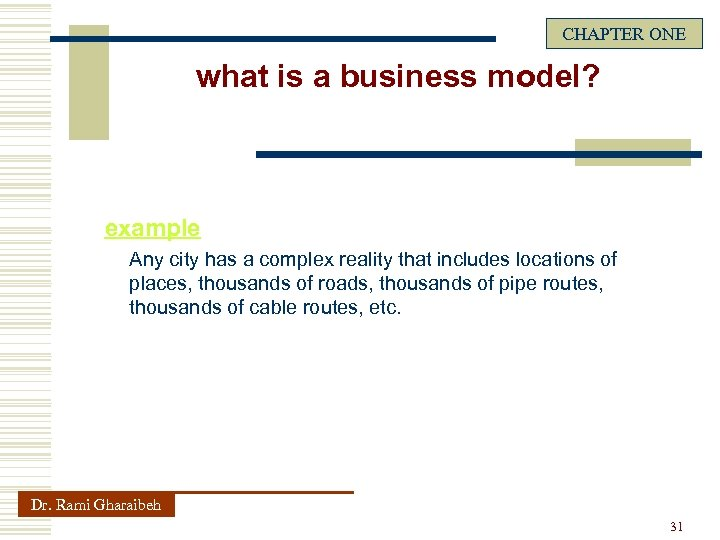 CHAPTER ONE what is a business model? example Any city has a complex reality