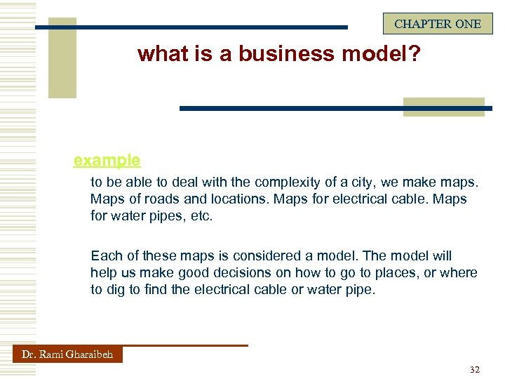 CHAPTER ONE what is a business model? example to be able to deal with