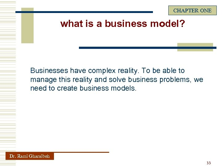 CHAPTER ONE what is a business model? Businesses have complex reality. To be able