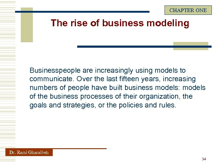 CHAPTER ONE The rise of business modeling Businesspeople are increasingly using models to communicate.
