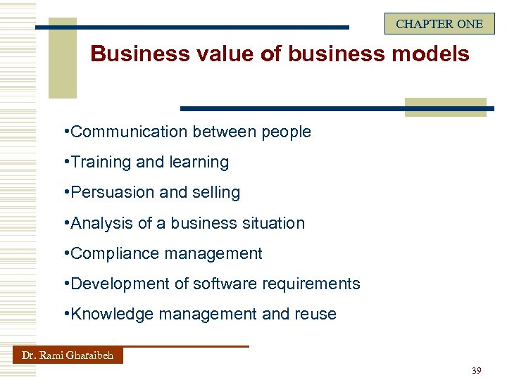 CHAPTER ONE Business value of business models • Communication between people • Training and
