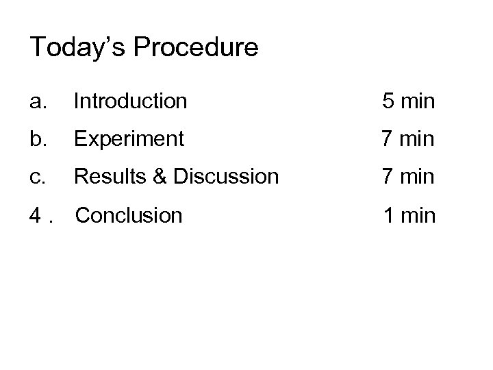 Today's Procedure a. Introduction b. Experiment         7 min c. Results & Discussion