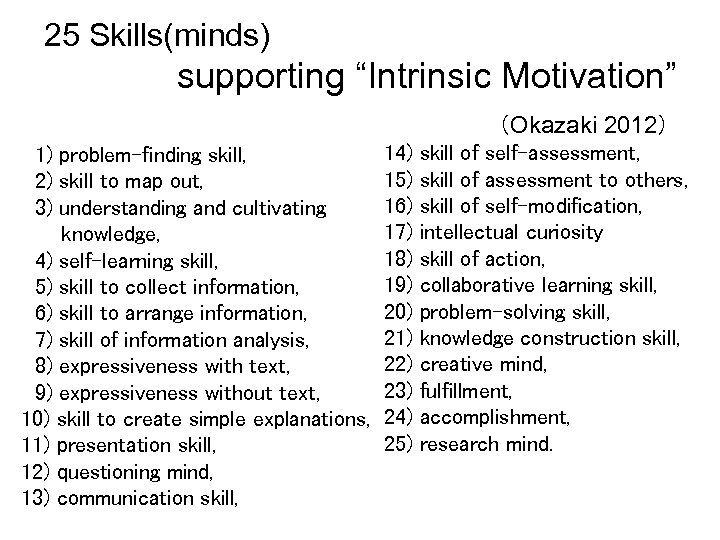 "25 Skills(minds) supporting ""Intrinsic Motivation""      (Okazaki 2012) 1) problem-finding skill, 2) skill to map"