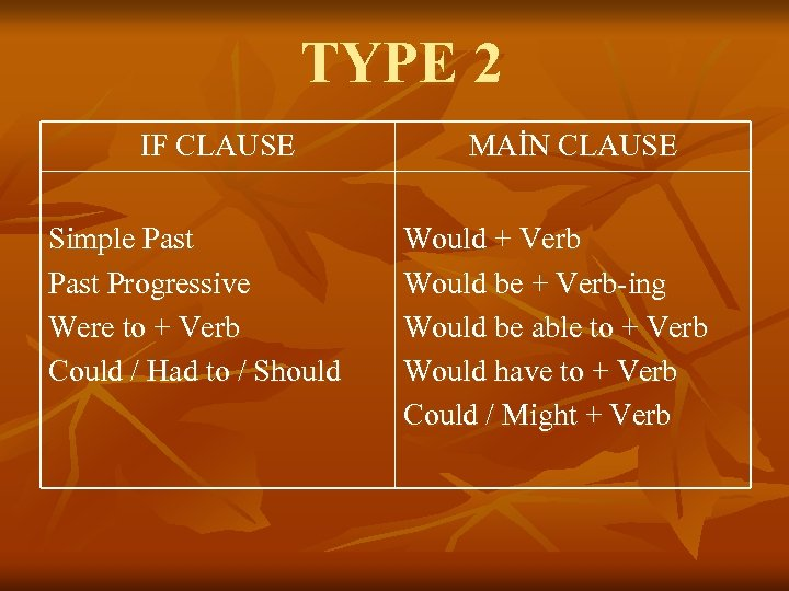 TYPE 2 IF CLAUSE Simple Past Progressive Were to + Verb Could / Had