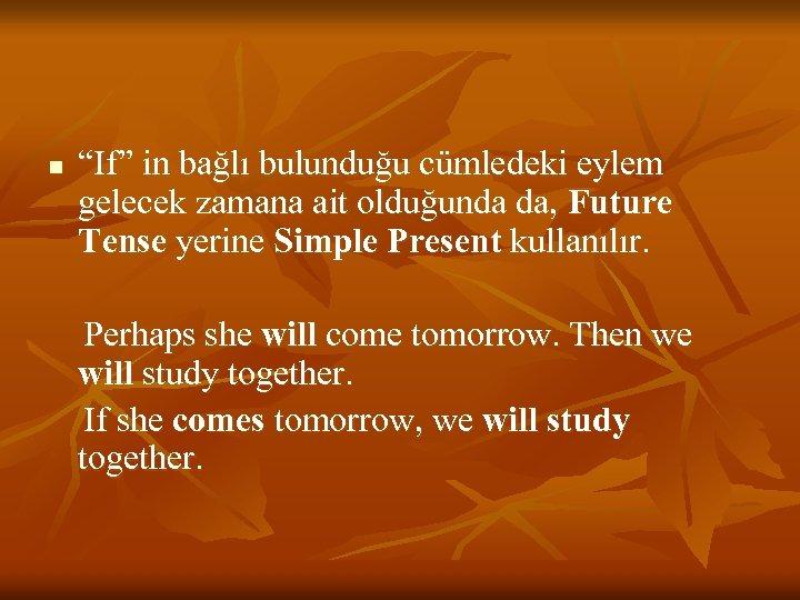 """n """"If"""" in bağlı bulunduğu cümledeki eylem gelecek zamana ait olduğunda da, Future Tense"""