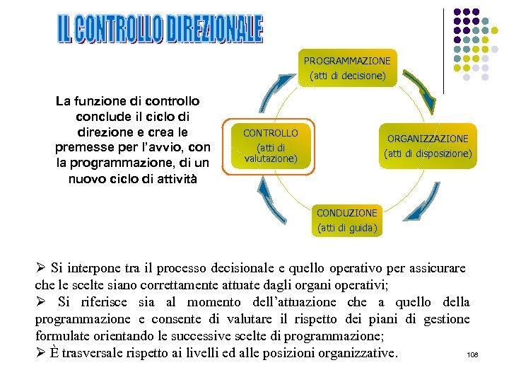 PROGRAMMAZIONE (atti di decisione) La funzione di controllo conclude il ciclo di direzione e