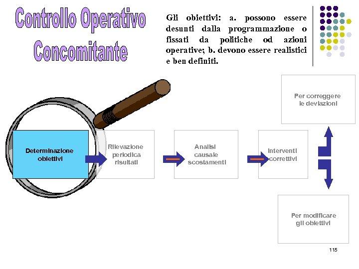 Gli obiettivi: a. possono essere desunti dalla programmazione o fissati da politiche od azioni