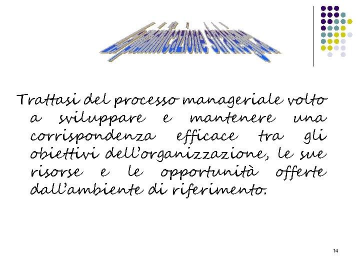Trattasi del processo manageriale volto a sviluppare e mantenere una corrispondenza efficace tra gli