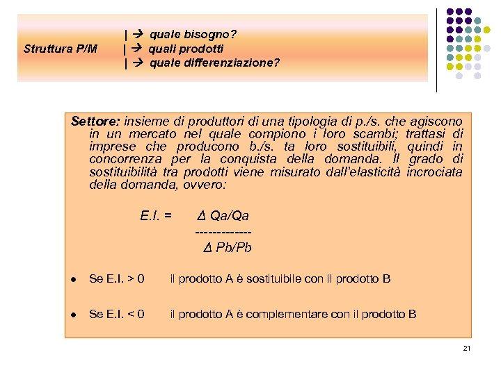 Struttura P/M | quale bisogno? | quali prodotti | quale differenziazione? Settore: insieme di